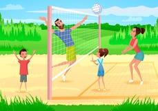 Familia feliz que juega deportes en vector de la historieta del parque ilustración del vector