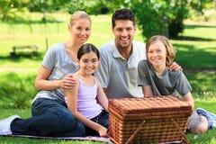 Familia feliz que merienda en el campo en el parque Imagen de archivo