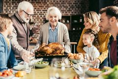 familia feliz que mira el pavo delicioso de la acción de gracias en manos fotografía de archivo