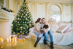 Familia feliz que se sienta en el sofá cerca del árbol de navidad Imagenes de archivo