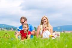 Familia feliz que tiene comida campestre en prado Imagenes de archivo