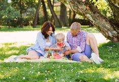 Familia feliz que tiene una comida campestre en el parque que come una sandía Imagen de archivo libre de regalías