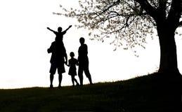 Familia feliz, silueta Imagen de archivo
