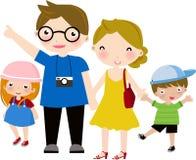 Familia feliz a viajar ilustración del vector