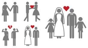 Familia feliz y concepto de la boda Imagenes de archivo