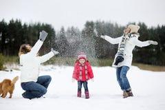 Familia feliz y un gato en un día de invierno foto de archivo libre de regalías