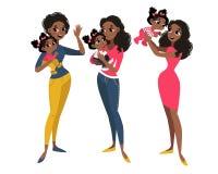 Familia fijada con la mamá y la hija stock de ilustración