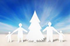 Familia fuerte feliz en vacaciones de invierno Fotos de archivo libres de regalías
