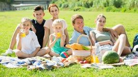 Familia grande moderna de seis que tiene comida campestre en césped verde en parque Imagen de archivo libre de regalías