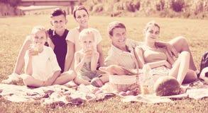 Familia grande moderna de seis que tiene comida campestre en césped verde en parque Fotografía de archivo libre de regalías