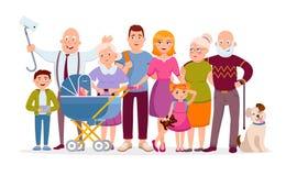 Familia grande que se une como personajes de dibujos animados de un retrato de la familia en diseño plano del vector Madre, padre stock de ilustración