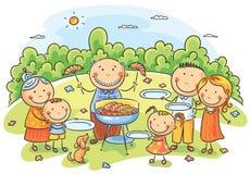 Familia grande que tiene comida campestre stock de ilustración