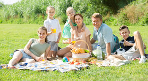 Familia grande sonriente que tiene comida campestre en césped verde en parque Imagen de archivo