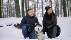 Familia hermosa, un hombre y una muchacha en bosque del invierno con el perro Juego con el husky siberiano del perro metrajes