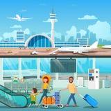 Familia interior Hall Departure Terminal del aeropuerto libre illustration