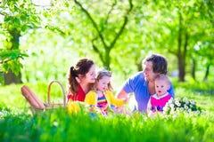 Familia joven con los niños que tienen comida campestre al aire libre Foto de archivo