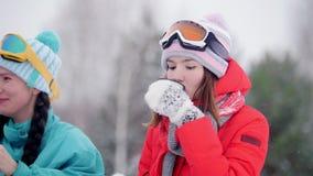 Familia joven del bosque del invierno en la ropa colorida que descansa para arriba por la moto de nieve Derramar la bebida calien metrajes