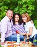 Familia joven feliz con la hija en comida campestre Imagen de archivo