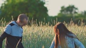 Familia joven feliz de tres personas junto en un campo de trigo entre las espiguillas verdes Los padres detienen a una pequeña hi metrajes