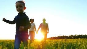 Familia joven feliz que camina en un césped verde, en un fondo de la puesta del sol, en la cámara lenta El niño corre delante de  almacen de metraje de vídeo