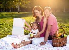 Familia joven feliz que tiene comida campestre en el prado Foto de archivo