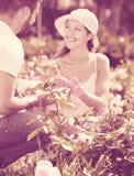 Familia joven sonriente en jardín imagenes de archivo