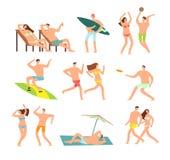 Familia joven y feliz en la playa soleada Carácter de la gente del vector el vacaciones de verano libre illustration