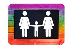 Familia lesbiana con la muestra blanca en una pizarra, colores gay del niño de la bandera del arco iris Fotos de archivo libres de regalías