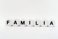 Familia, lettres de matrices Images stock