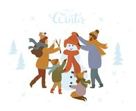 Familia linda de la historieta que hace un aire libre del muñeco de nieve, ejemplo aislado invierno del vector libre illustration