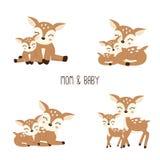 Familia linda de los ciervos de la historieta Madre y bebé ilustración del vector
