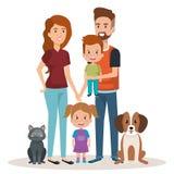 Familia linda feliz y caracteres del animal doméstico Fotografía de archivo