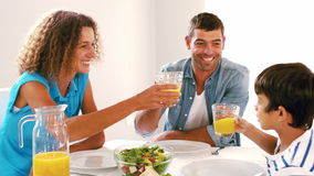 Familia linda que tuesta con el zumo de naranja en el almuerzo almacen de video