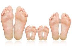 Familia. Los pies grandes y pequeños Fotografía de archivo