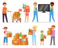 Familia móvil del vector de la gente con las cajas de embalaje o los paquetes de los niños a moverse al nuevo sistema del ejemplo ilustración del vector