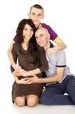 Familia, madre, padre e hijo felices Imagen de archivo libre de regalías
