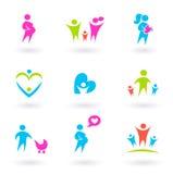 Familia, madre y iconos de la maternidad aislados en blanco Imágenes de archivo libres de regalías