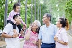 Familia multi asi?tica de la generaci?n que charla en el parque imagen de archivo