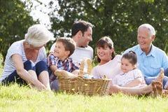 Familia multi de la generación que disfruta de comida campestre en campo Foto de archivo libre de regalías
