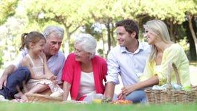 Familia multi de la generación que disfruta de comida campestre junto almacen de video