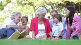 Familia multi de la generación que disfruta de comida campestre junto metrajes