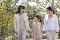 familia Multi-generacional, abuela, madre, e hija que lleva a cabo las manos y que va para un paseo en el parque en primavera Foto de archivo
