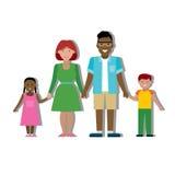 Familia multicultural en blanco Imagen de archivo