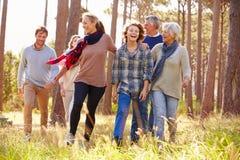 Familia multigeneración con adolescencias que camina en campo Imágenes de archivo libres de regalías
