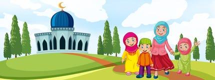 Familia musulmán delante de la mezquita ilustración del vector