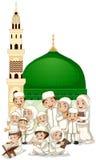 Familia musulmán delante de la mezquita libre illustration