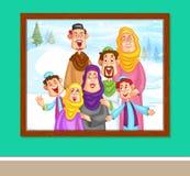 Familia musulmán feliz en marco de la foto Fotos de archivo