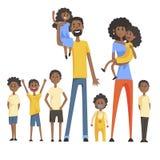 Familia negra feliz con el retrato de muchos niños con todo el ejemplo colorido de los niños y de los padres de los bebés y de la stock de ilustración