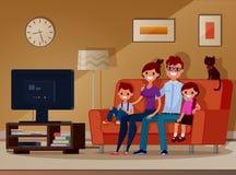 Familia, niños y padres viendo la TV Vector Ilustración Estilo plano Estilo de la historieta foto de archivo
