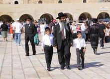 Familia ortodoxa, Jerusalén imagen de archivo